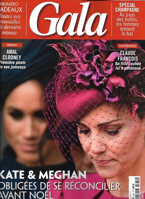 """GALA n°1331 12/12/2018  Kate & Meghan/ Claude François/ """"L'empereur de Paris"""" Cassel/ Mary Poppins/ Spécial champagne"""