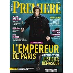 PREMIERE n°491 décembre 2018  L'Empereur de Paris-Cassel/ Mary Poppins/ Engrenages/ Kore-eda/ Spider-Man/ Dano & Kazan
