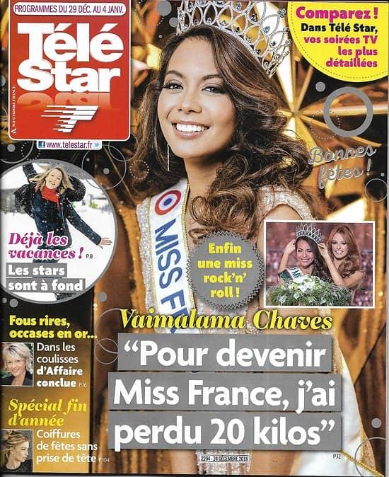 TELE STAR n°2204 29/12/2018  Miss France 2019: Vaimalama Chaves/ Hepburn/ Boccolini/ Callas/ Hartley