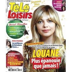 TELE LOISIRS n°1713 29/12/2018  Louane Emera/ Miss France/ Cherif/ Reveillon/ Belmondo/ Nikos Aliagas/ Zemeckis