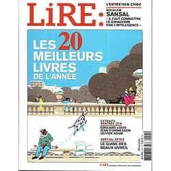 LIRE n°441 décembre 2015  20 meilleurs livres de l'année/ Boualem Sansal/ Lewis Carroll/ Pignon-Ernest/ beaux livres