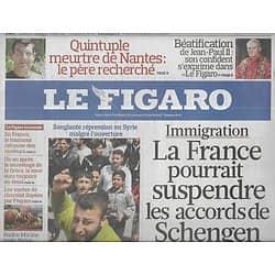 LE FIGARO n°20753 24/04/2011  Revoir Schengen?/ Répression en Syrie/ Rembrandt/ Fontainebleau/ Irak/ Tourisme