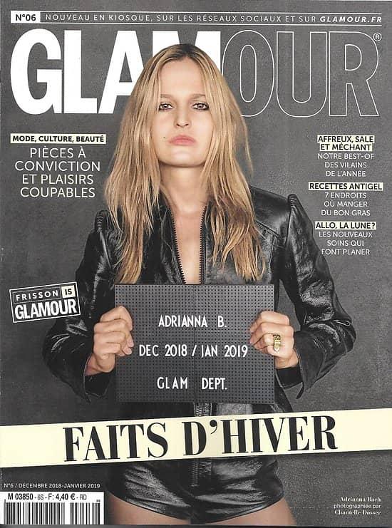"""GLAMOUR n°6 déc.2018  Spécial Faits divers & frisson/ """"Détective""""/ Vilains de l'année/ Adrianna Bach/ La justice sexiste?"""