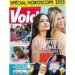 VOICI n°1311 22/12/2012  Angelina Jolie & Jennifer Aniston/ Katie Holmes/ Koh-Lanta/ Kate Middleton