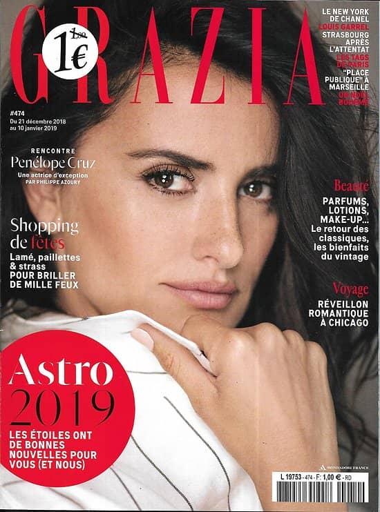 GRAZIA n°474 21/12/2018  Penélope Cruz/ Astro 2019/ Louis Garrel/ Chanel/ Place publique/ La sorcière, féministe?