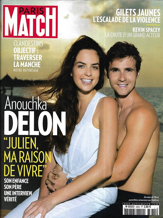 PARIS MATCH n°3635 10/01/2019  Anouchka Delon/ Gilets jaunes, escalade de la violence/ Kevin Spacey, unusual suspect/ Or guyanais/ Migrants, cap sur l'Angleterre