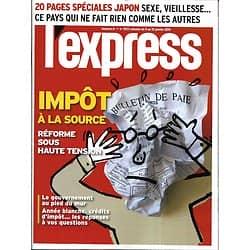 L'EXPRESS n°3523 09/01/2019  Impôt à la source/ Spécial Japon/ F.Nyssen/ Rentrée littéraire/ Exposome/ Inégalités des chances