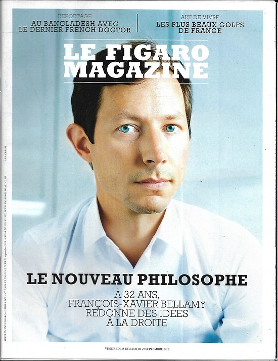 LE FIGARO MAGAZINE n°23056 28/09/2018  Bellamy, le nouveau philosophe/ Seconde Guerre Mondiale en infographies/ Plus beaux golfs de France