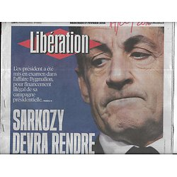 LIBERATION n°10805 17/02/2016  Sarkozy & affaire Bygmalion/ Terrorisme/ Hong Sang-soo/ Maïtena Biraben/ Laurence Rossignol