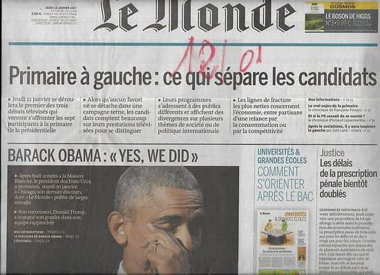 LE MONDE n°22394 12/01/2017  Obama, fin de mandat-le dernier discours/ Primaire à gauche/ Classiques de la littérature en BD