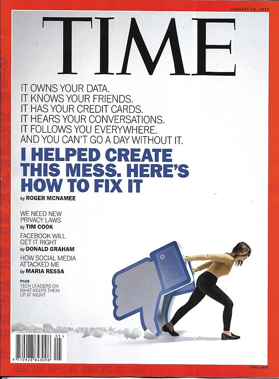 """TIME VOL.193 n°3 28/01/2019  The Tech Backlash: how to fix social media before it's too late/ Sex-trafficking/ """"Black Monday"""""""