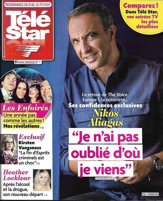 TELE STAR n°2210 09/02/2019  Nikos Aliagas/ Les Enfoirés/ Kristen Vangsness/ Michel Legrand/ Michèle Bernier/ Laura Ingalls