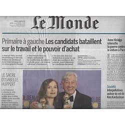 LE MONDE n°22392 10/01/2017  Isabelle Huppert/ Primaire à gauche/ Finance de l'ombre/ Pablo Larrain/ Mario Soares/ Transports Paris