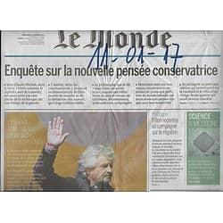 LE MONDE n°22393 11/01/2017  La nouvelle pensée conservatrice/ Neurones artificiels/ Brexit & eurosceptiques/ Michéa/ Dalida