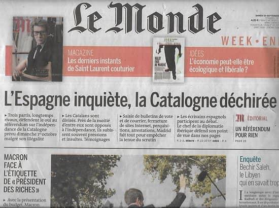 """LE MONDE n°22617 30/09/2017  Catalogne déchirée/ Macron """"président des riches""""?/ Hugh Hefner/ Bechir Saleh"""