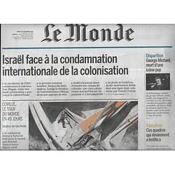 LE MONDE n°22380 27/12/2016  Colonies d'Israël/ Record de Coville/ George Michael/ Donana Espagne/ Devenir instit