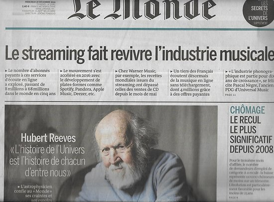 LE MONDE n°22381 28/12/2016  Hubert Reeves/ Secrets de l'Univers/ Streaming/ civils de Mossoul/ Catholiques/ Baisse du chômage