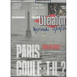 LIBERATION n°10817 02/03/2016  Paris, flood of the century/ Charleville anti-crime brigade/ Le Foll/ Europe/ Philip K.Dick