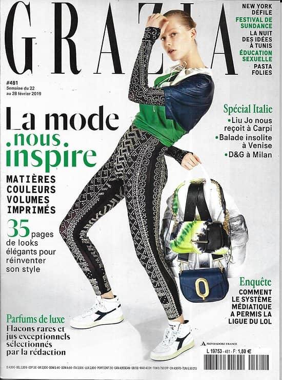 GRAZIA n°481 22/02/2019  La mode nous inspire/ Festival de Sundance/ Liu Jo/ Parfums de luxe/ Ligue du LOL/ La Nuit des Idées à Tunis