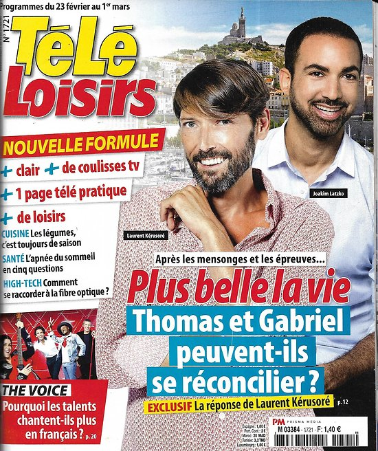 TELE LOISIRS n°1721 23/02/2019  Plus belle la vie-Laurent Kérusoré/ The Voice/ Lara Fabian/ Messmer/ The big bang theory