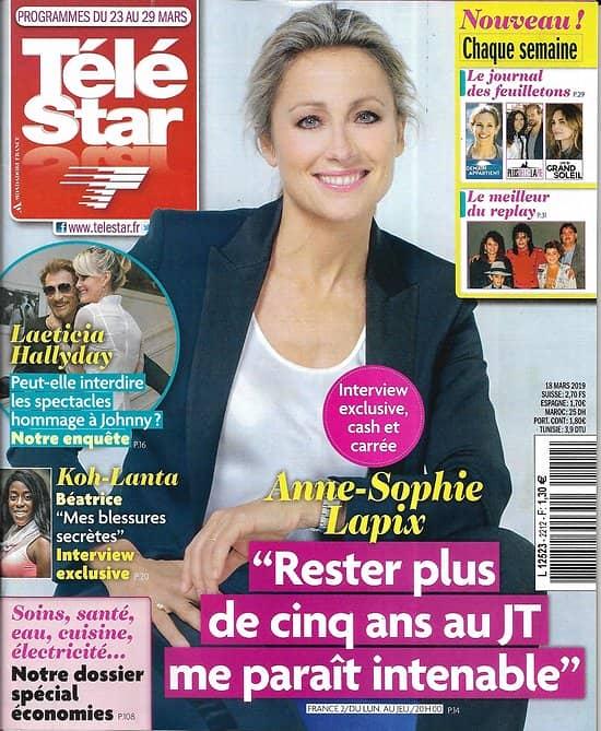 TELE STAR n°2216 23/03/2019  Anne-Sophie Lapix/ Laeticia Hallyday/ Meghan Markle/ JM Vincent/ Elsa Esnoult/ Michel Bussi/ Elodie Gossuin