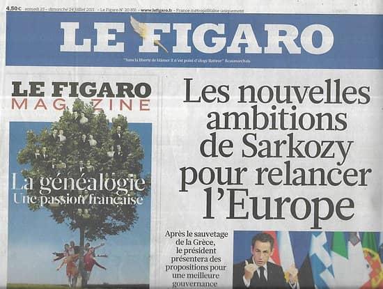 LE FIGARO n°20831 24/07/2011 Les ambitions européennes de Sarkozy/ Franquisme/ Tour de France/ Plan d'aide à la Grèce