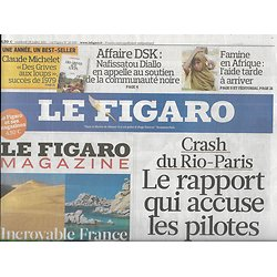 LE FIGARO n°20836 29/07/2011  Crash du Rio-Paris AF-447/ Famine en Somalie/ Affaire DSK/ Churchill/ Orange low-cost: Sosh
