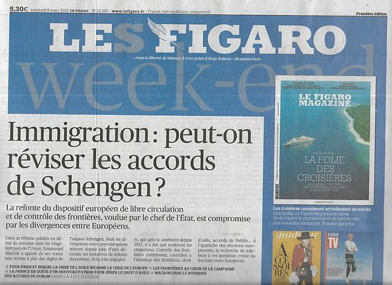 LE FIGARO n°23192 08/03/2019  Immigration: réviser les accords de Schengen?/Elimination PSG/ Inégalités salariales/ Opéra de Paris