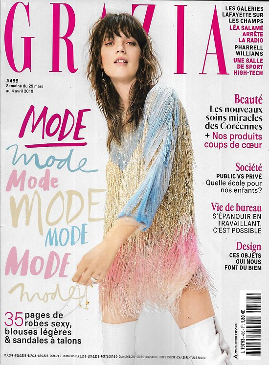 GRAZIA n°486 29/03/2019  Mode printemps/ Gloria Steinem/ S'épanouir en travaillant/ Eva Green/ Paul B.Preciado/ Design/ Soins coréens