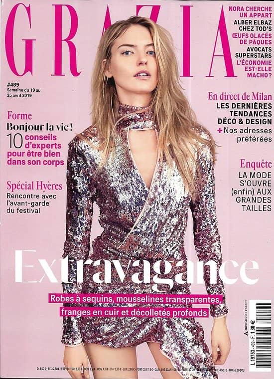 GRAZIA n°489 19/04/2019  Extravagance/ Martha Hunt/ Spécial Hyères/ Sarah Levy/ Maria Ressa/ Grands tailles/ Milan design