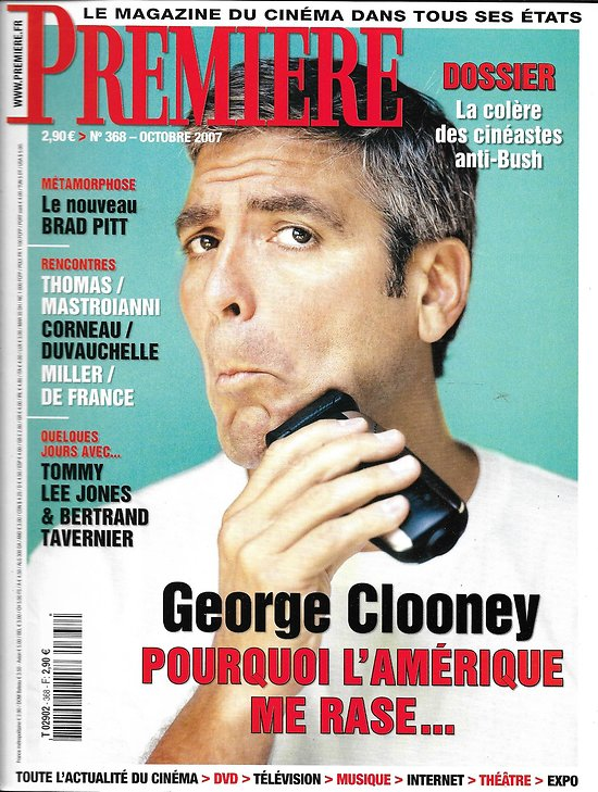 PREMIERE n°368 octobre 2007  George Clooney/ Brad Pitt/ Tommy Lee Jones/ Politique/ mastroianni