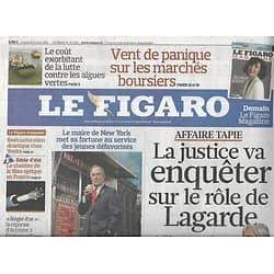 LE FIGARO n°20842 05/08/2011 Affaire Tapie/ Soulèvement en Syrie/ Bloomberg/ Algues vertes/ Barbara/ Fibre optique