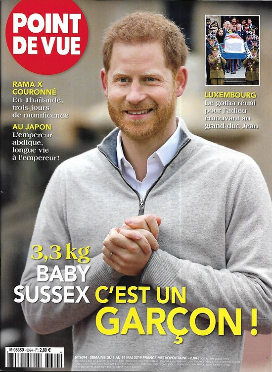 POINT DE VUE n°3694 08/05/2019  Baby Sussex: c'est un garçon!/ Meghan & Harry/ Charlotte de Cambridge/ Jean de Luxembourg