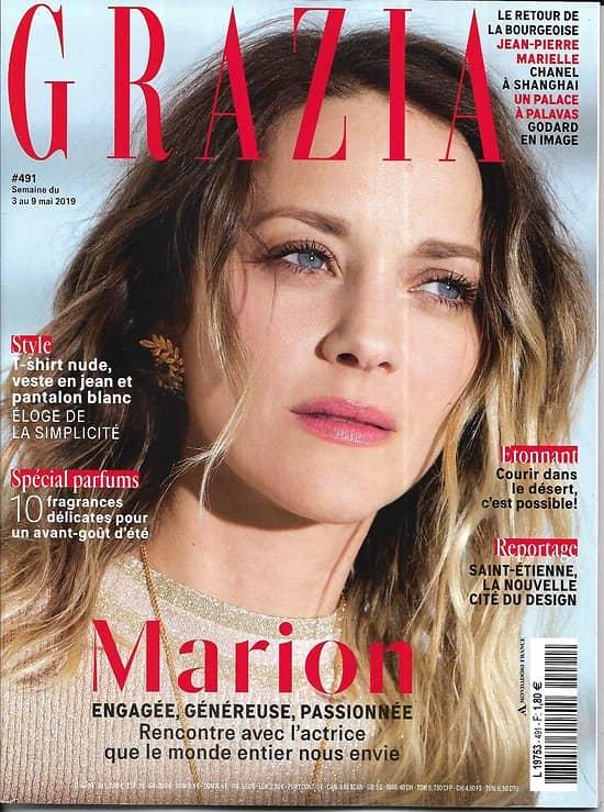 """GRAZIA n°491 03/05/2019  Marion Cotillard/ Spécial parfums/ Half Marathon des Sables/ """"Mademoiselle Privé""""/ Saint-Etienne"""