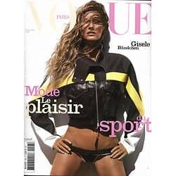 VOGUE n°998 juin 2019  Gisele Bundchen/ Mode: le plaisir du sport/ Serena Williams/ Victoria Vergara/ Edie Campbell/ Edita Vilkeviciute/ Karlie Kloss