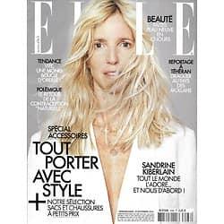 ELLE n°3586 19/09/2014  Sandrine Kiberlain/ Spécial accessoires/ Carole Bouquet/ Drague en Iran/ Helen Fielding