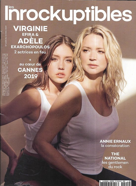 LES INROCKUPTIBLES n°1225 22/05/2019  Virginie Efira & Adèle Exarchopoulos/ Spécial Cannes/ Annie Ernaux/ The National