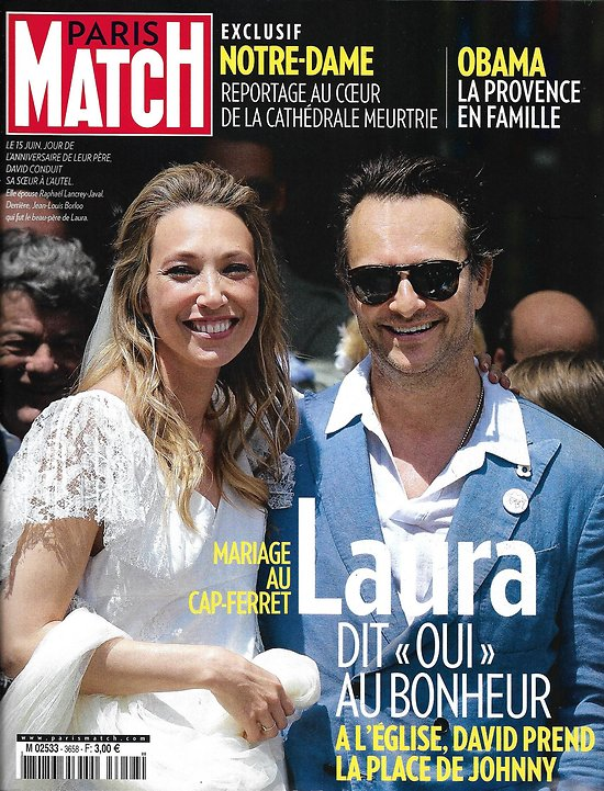 PARIS MATCH n°3658 19/06/2019  Mariage de Laura Smet/ Au coeur de Notre-Dame meurtrie/ Obama en Provence/ SNSM en deuil/ Festival de Cabourg