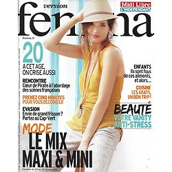 VERSION FEMINA n°516 20/02/2012  Mode: mix maxi & mini/ Coeur de Pirate/ Evasion au Cap-Vert/ Les abats