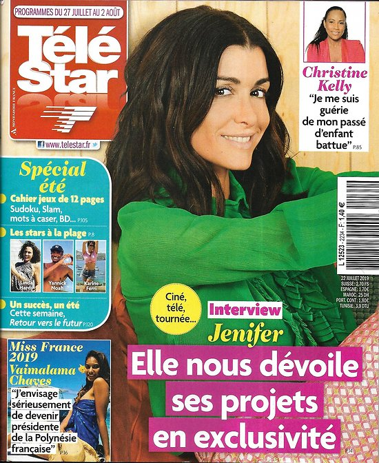 "TELE STAR n°2234 27/07/2019  Jenifer/ Miss France 2019/ Christine Kelly/ ""Retour vers le futur""/ Ingrid Chauvin"