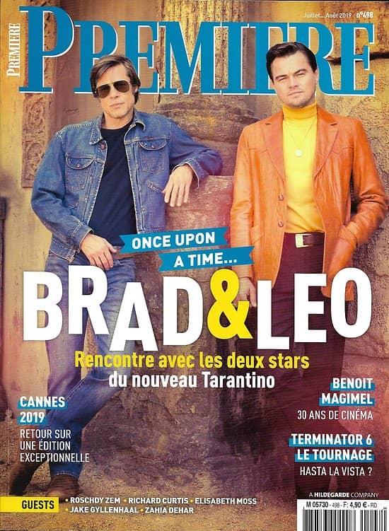 PREMIERE n°498 juillet-août 2019  Brad Pitt & Leonardo Dicaprio/ Tarantino/ Cannes/ Treminator: Dark Fate/ Elisabeth Moss/ Jake Gyllenhaal