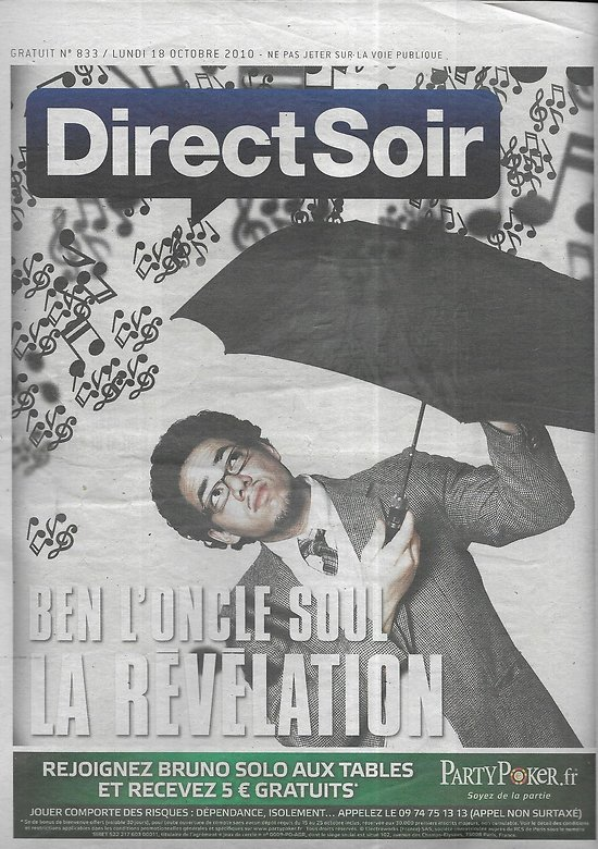 DIRECT SOIR n°833 18/10/2010  Ben L'Oncle Soul/ Merveilles Incas/ Jean-Pierre Dick
