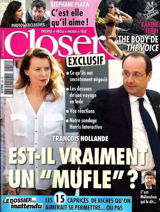 CLOSER n°451 31/01/2014  Hollande & Trierweiler/ Stéphane Plaza/ Karine Ferri/ Maurane