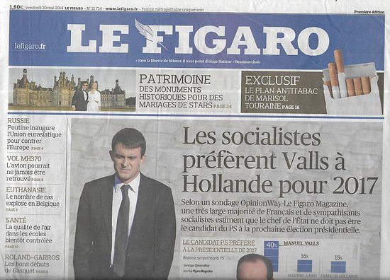 LE FIGARO n°21714 30/05/2014  Candidature PS/ Plan antitabac/ Mariages au château