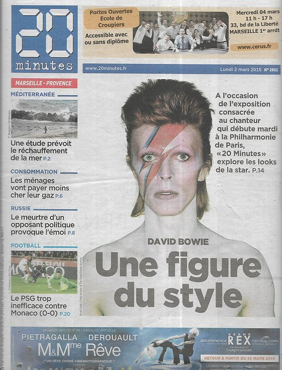 20 minutes n°2802 02/03/2015  David Bowie, une figure du style