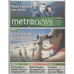 METRO NEWS n°2793 08/06/2015  Muse/ Prévention des noyades/ Loups/ Les Bleus/ Premier emploi