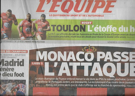 L'EQUIPE n°21859 23/05/2014  AS Monaco/ RC Toulon/ Alonso/ Gilles Simon/ Madrid