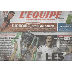 L'EQUIPE n°21861 25/05/2014  Rugby Coupe d'Europe: Toulon/ Real Madrid/ Djokovic/ Nico Rosberg/ Zidane