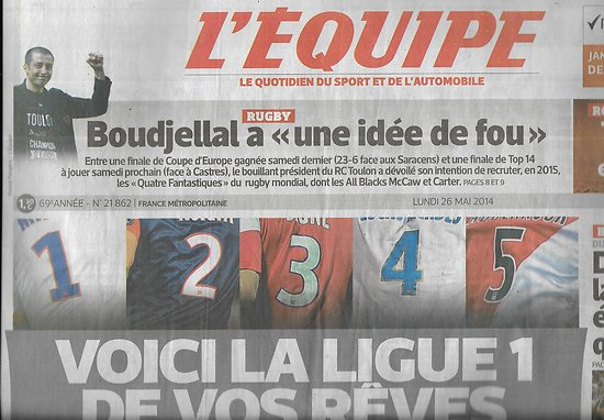 L'EQUIPE n°21862 26/05/2014  Ligue 1 de vos rêves/ Boudjellal/ Dijon/ Jules Bianchi/ Tsonga