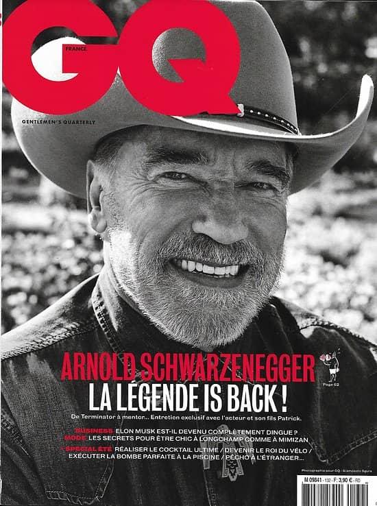 """GQ n°132 août 2019  Arnold Schwarzenegger & Patrick/ Elon Musk/ Les faux """"Le Drian""""/ Vanlife/ Spécial été/ Kiddy Smile/ Mode hommes"""